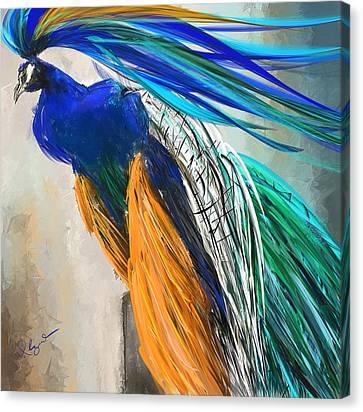 Regal Vibrancy- Peacock Paintings Canvas Print by Lourry Legarde