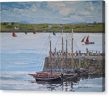 Regatta At Roundstone Harbour Connemara Canvas Print by Diana Shephard
