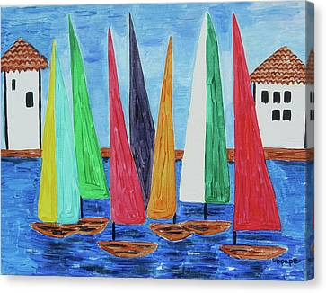 Canvas Print featuring the painting Regatta by Diane Pape