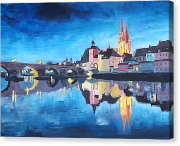 Regensburg Bavaria At Dawn Canvas Print
