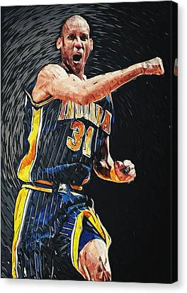 All Star Game Canvas Print - Reggie Miller by Taylan Apukovska