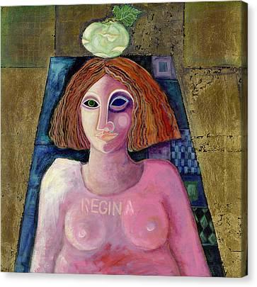 Regina, 2004 Acrylic & Metal Leaf On Canvas Canvas Print by Laila Shawa