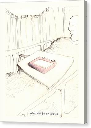 rehab with Etch-A-Sketch Canvas Print by Alan McCormick