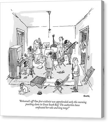 Rehearsal's Off! Our ?rst Violinist Canvas Print by George Booth