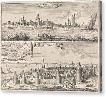 Historic Site Canvas Print - Reimerswaal In Past And Present Times, 1634 by Jan Luyken And Johannes Meertens And Abraham Van Someren