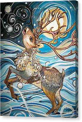 Reindeer - Free Spirited -  Snowflakes Canvas Print by M E Wood