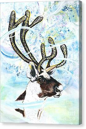 Reindeer - Winter Snow Storm Canvas Print by M E Wood