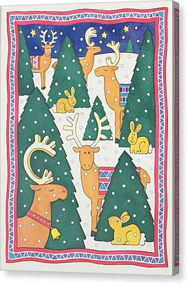 Snowy Night Night Canvas Print - Reindeers Around The Christmas Trees by Cathy Baxter