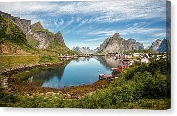 Mountain Cabin Canvas Print - Reine by Rickard Eriksson
