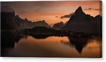 Reine Village With Dark Mountains Canvas Print by Panoramic Images