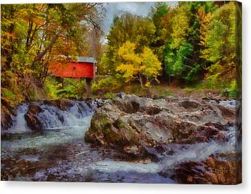 River Runs Under Slaughter House Covered Bridge Canvas Print by Jeff Folger