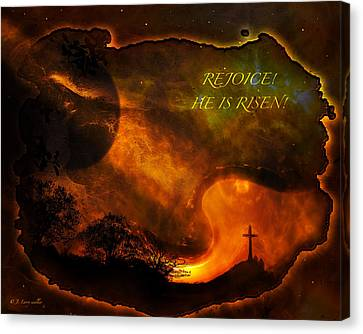 Canvas Print featuring the digital art Rejoice - He Is Risen by J Larry Walker