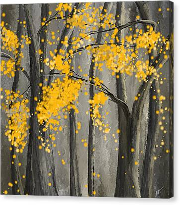 Rejuvenating Elements- Yellow And Gray Art Canvas Print