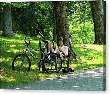 Relaxing After The Ride Canvas Print by Susan Savad