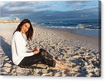 Relaxing By The Ocean Canvas Print by Delores Pittman