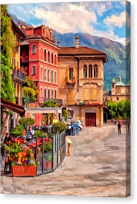 Relaxing In Baveno Canvas Print by Michael Pickett