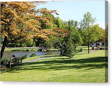Canvas Print featuring the photograph Relaxing In The Park by Judy Palkimas
