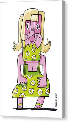 Relaxing Woman Doodle Character Canvas Print by Frank Ramspott