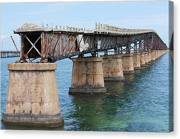 Relic Of The Old Florida Keys Overseas Railroad Canvas Print by John M Bailey