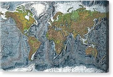 Relief Map Of The Earth Canvas Print by Carol and Mike Werner