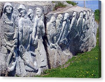 Relief Sculpture At Peggy's Cove Canvas Print by Brenda Anne Foskett