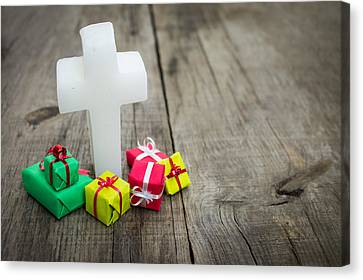 Religious Cross With Presents Canvas Print by Aged Pixel