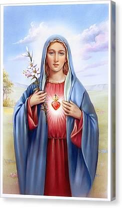 Religious Sacred Heart Of Virgin Mary Canvas Print by Patrick Hoenderkamp
