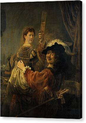 Rembrandt And Saskia In The Parable Of The Prodigal Son Canvas Print by Rembrandt van Rijn