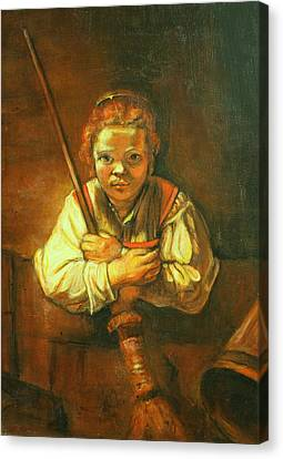 Rembrandt Copy Young Girl With Broom Canvas Print by Melinda Saminski