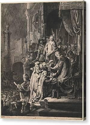 Rembrandt Van Rijn Dutch, 1606 - 1669, Christ Before Pilate Canvas Print