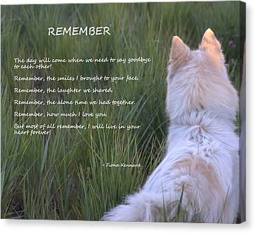 Remember Canvas Print by Fiona Kennard