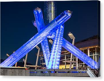 Vancouver At Night Canvas Print - Remembering Vancouver Olympics - By Sabine Edrissi by Sabine Edrissi