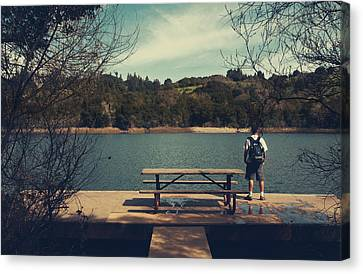 Picnic Table Canvas Print - Remembering When by Laurie Search