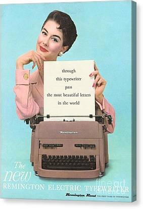 Remington 1950s Uk Typewriters Canvas Print by The Advertising Archives