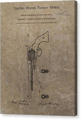 Remington Canvas Print - Remington Revolver Patent by Dan Sproul