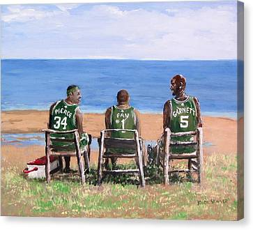 Kevin Garnett Canvas Print - Reminiscing The Good Old Days by Jack Skinner