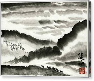 Canvas Print featuring the painting Remote Mountains by Ping Yan