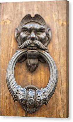 Dog At Door Canvas Print - Renaissance Door Knocker by Melany Sarafis