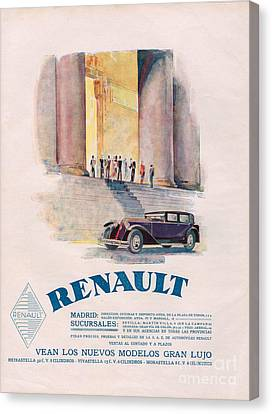 Renault 1930 1930s Usa Cc Cars Canvas Print by The Advertising Archives