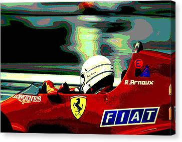 Canadian Grand Prix Canvas Print - Rene Arnoux And Ferrari by Mike Flynn