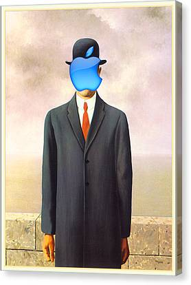 Ipod Canvas Print - Rene Magritte Son Of Man Apple Computer Logo by Tony Rubino