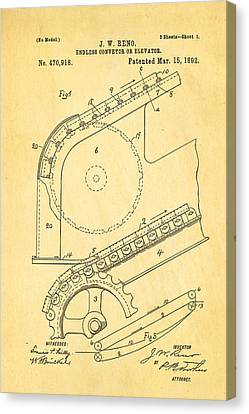 Reno Escalator Patent Art 1892 Canvas Print by Ian Monk