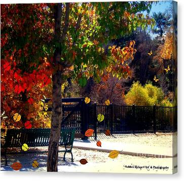 Reno Riverwalk In The Fall Canvas Print by Bobbee Rickard