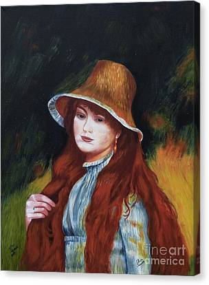 Renoir-young Girl In A Straw Hat Canvas Print by Alicia  Fowler