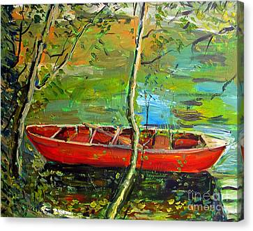 Renoirs Canoe Canvas Print by Charlie Spear