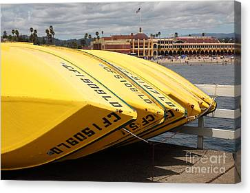 Rental Boats On The Municipal Wharf At Santa Cruz Beach Boardwalk California 5d23795 Canvas Print by Wingsdomain Art and Photography