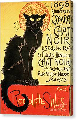 Chat Canvas Print - Reopening Of The Chat Noir Cabaret by Theophile Alexandre Steinlen
