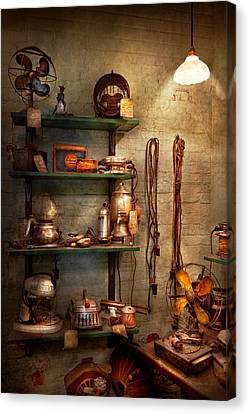Repair - In The Corner Of A Repair Shop Canvas Print by Mike Savad
