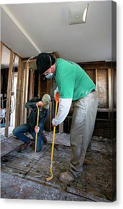 Hurricane Sandy Canvas Print - Repairing Hurricane Sandy Damage by Jim West