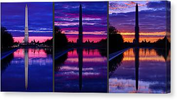 War Canvas Print - Repairing The Monument Triptych by Metro DC Photography